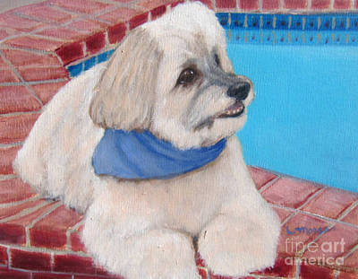 Painting - Poolside Puppy by Laurie Morgan