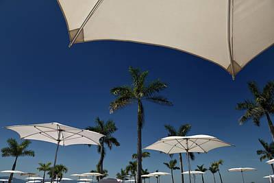 Nuevo Vallarta Photograph - Poolside Resort Umbrellas With Palm Trees In Nuevo Vallarta Mexi by Reimar Gaertner