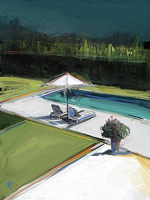 Umbrellas Mixed Media - Poolside by Russell Pierce