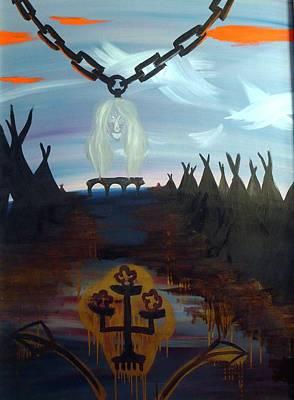 Poor Barbara And The Indians Art Print by Zsuzsa Sedah Mathe