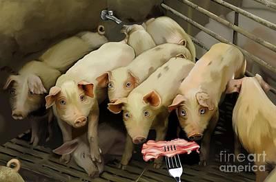 Poor Piggies Original by Cynthia Aiken