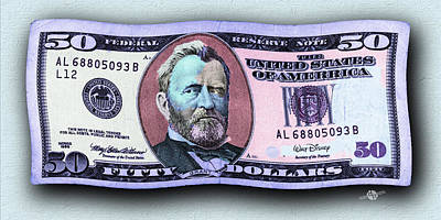Photograph - Pop 50 Dollar Bill In The Wind Purple Blue by Tony Rubino