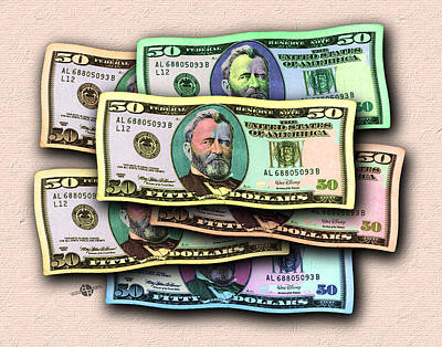 Painting - 50 Dollar Bills In The Wind All Colors In Spectrum 2 Pop Art  by Tony Rubino
