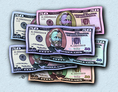 Surrealism Royalty Free Images - 50 Dollar Bills In The Wind All Colors In Spectrum 2 Pop Art  Royalty-Free Image by Tony Rubino