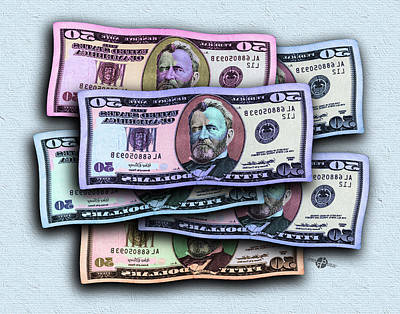 Painting - 50 Dollar Bills In The Wind All Colors In Spectrum Mirror Image 2 Pop Art  by Tony Rubino