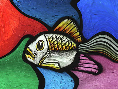 Mixed Media - Pop Abstract Fish by Movie Poster Prints