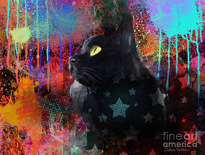 Austin Mixed Media - Pop Art Black Cat Painting Print by Svetlana Novikova