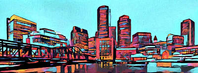 Fenway Park Boston Painting - Pop Art Boston Skyline by Dan Sproul
