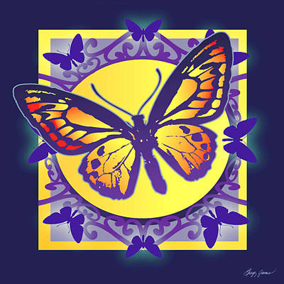 Digital Art Royalty Free Images - Pop Art Butterfly Royalty-Free Image by Greg Joens