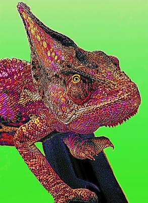 Pop Art Chameleon Art Print by L S Keely