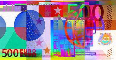 Digital Art - Pop-art Colorized Five Hundred Euro Bill by Serge Averbukh