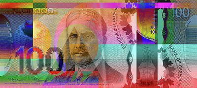 Pop-art Colorized New One Hundred Canadian Dollar Bill Original by Serge Averbukh