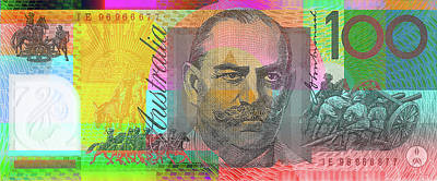 Digital Art - Pop Art Colorized One Hundred Australian Dollar Bill by Serge Averbukh