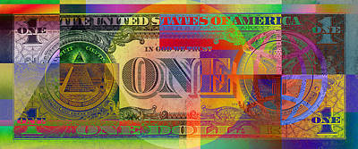 Pop-art Colorized One U. S. Dollar Bill Reverse Art Print by Serge Averbukh