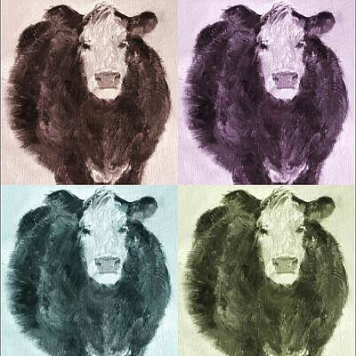 Painting - Pop Art Cows Light by Michele Carter