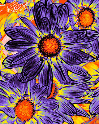 Modern Abstract Digital Art - Pop Art Daisies 18 by Amy Vangsgard
