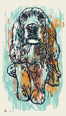 Pop Art Etching Poster - Dog   Art Print by Kim Wang