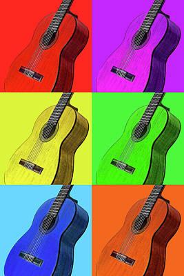 Photograph - Pop Art Guitars Vertical by Gill Billington