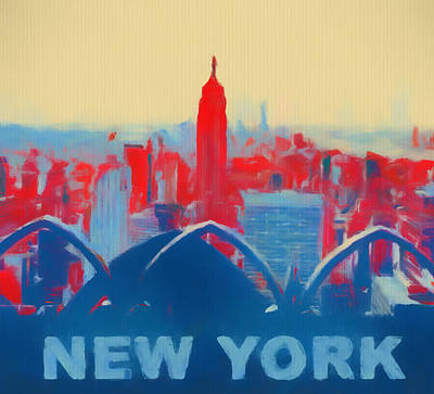 Skylines Paintings - Pop Art New York by Dan Sproul