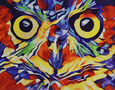 Painting - Pop Art Owl Face-1 by Cameron Dixon