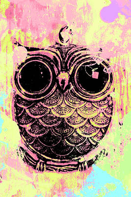 Comics Royalty-Free and Rights-Managed Images - Pop art owl watercolour by Jorgo Photography - Wall Art Gallery