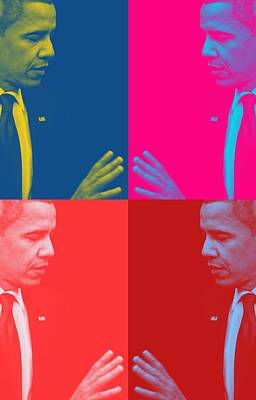 Acrylic Painting - Pop Art Portraits Of President Barack Obama 39a by Celestial Images