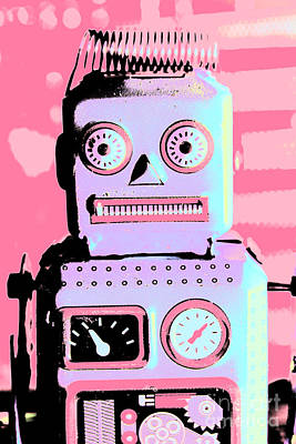 Electronic Photograph - Pop Art Poster Robot by Jorgo Photography - Wall Art Gallery