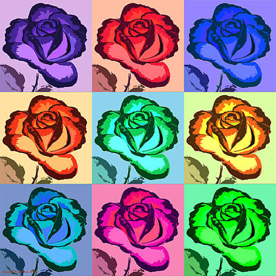 Painting - Pop Art Roses - Square by Gina De Gorna