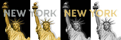 Cities Digital Art - Pop Art Statue Of Liberty - New York New York - Panoramic Golden Silver by Melanie Viola