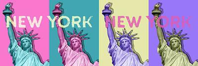 Statue Of Liberty Digital Art - Pop Art Statue Of Liberty - New York New York - Panoramic by Melanie Viola
