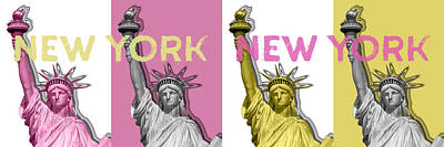 Cities Digital Art - Pop Art Statue Of Liberty - No3 Panoramic by Melanie Viola