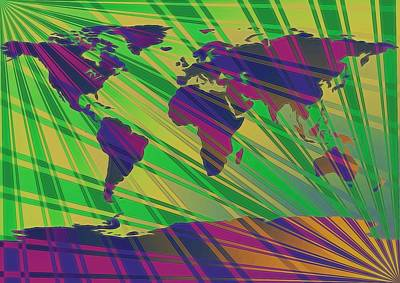Pop Art World Map Stripes Art Print