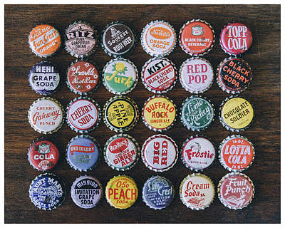 Cherry Coke Photograph - Pop Caps by Eric Bjerke