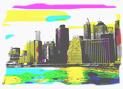Digital Art - Pop City Skyline by Shelli Fitzpatrick