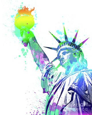 Statue Of Liberty Painting - Pop Colorful Liberty by Delphimages Photo Creations