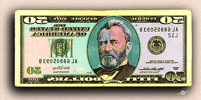 Painting - Crisp New 50 Dollar Bill Gold Green Mirror Image Pop Art  by Tony Rubino