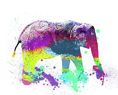 Elephants Digital Art - Pop Elephant by Delphimages Photo Creations