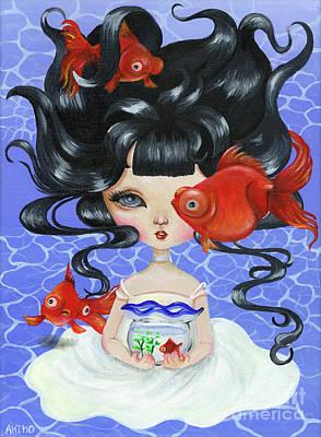 Painting - Pop-eyed Goldfish by Akiko Okabe