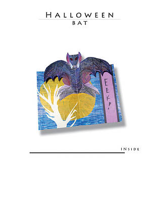 Spooky Card Mixed Media - Pop-up Halloween Bat by Kelly Butz
