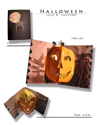 Spooky Card Mixed Media - Pop-up Halloween Jack O' Lantern by Kelly Butz