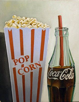 Popcorn And Coke Art Print by Vic Vicini