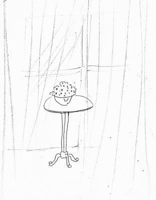 Drawing - Popcorn On Table  by Hae Kim