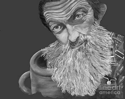 Painting - Popcorn Sutton Black And White Transparent - T-shirts by Jan Dappen