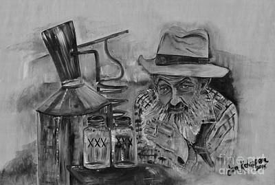 Painting - Popcorn Sutton - Black And White - Waiting On Shine by Jan Dappen
