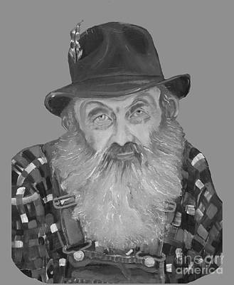Painting - Popcorn Sutton Moonshiner Bust - T-shirt Transparent B And  W by Jan Dappen