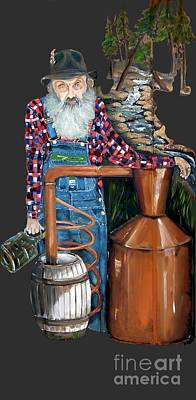 Painting - Popcorn Sutton Moonshiner -t-shirt Transparrent by Jan Dappen