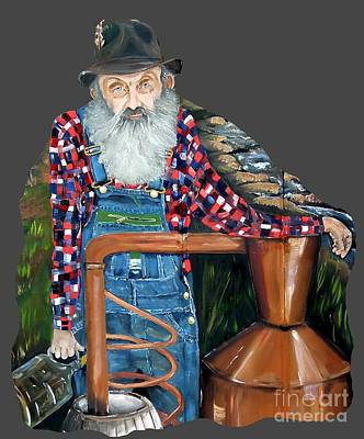 Painting - Popcorn Sutton Moonshiner - Tshirt Transparent Torso by Jan Dappen
