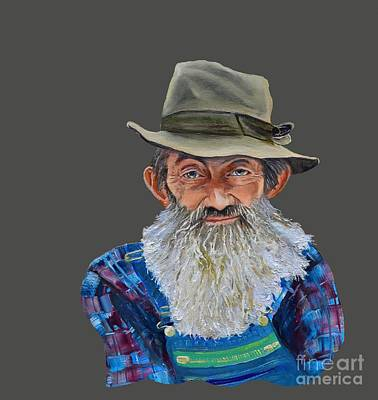 Painting - Popcorn Sutton Rocket Fuel- Transparent For T-shirt by Jan Dappen