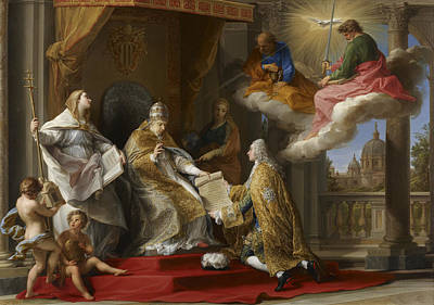Cherub Painting - Pope Benedict Xiv Presenting The Encyclical Ex Omnibus To The Comte De Stainville by Pompeo Girolamo Batoni