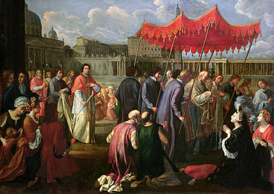 Crowd Scene Painting - Pope Clement Xi In A Procession In St. Peter's Square In Rome by Pier Leone Ghezzi
